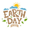 earth day banner 22nd april sun with clouds and vector image