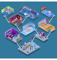 Shopping Mall Isometric Concept vector image