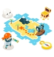 Pirate Treasure Adventure Game RPG Map Icon vector image