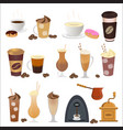 coffee set icons in flat vector image