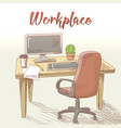professional graphic designer hand drawn workplace vector image