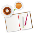 Scene with notebook and tea vector image vector image
