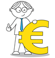 business man and the euro symbol vector image