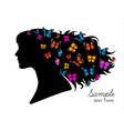 Beautiful women silhouette with colorful vector image