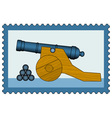Cannon on stamp vector image