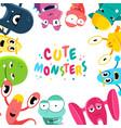 cute cartoon monsters background vector image