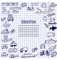 Hand-drawn doodle cars bicycles and ships vector image