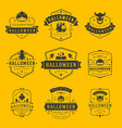 happy halloween labels an badges design set vector image