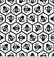 honeycomb and honey bees seamless pattern vector image