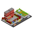 isometric street cafe concept vector image