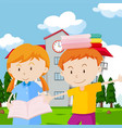two kids with books at school vector image