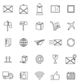 Post line icons on white background vector image