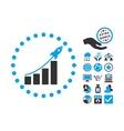 Startup Sales Flat Icon With Bonus vector image