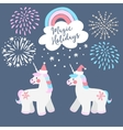 Cute Christmas greeting card invitation Little vector image