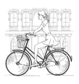 Girl bicyclist in Paris vector image