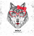 retro hipster animal wolf hand drawing muzzle vector image