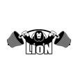 strong lion emblem leo and barbell logo for gym vector image