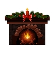 Christmas fireplace with fir vector image vector image