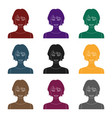 black hair woman icon in black style isolated on vector image