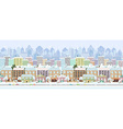 panorama seamless border with a winter cityscape vector image vector image