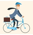 Businessman going to work in the office by bike vector image