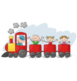 Happy little kids on a colorful train vector image