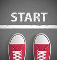 Vintage sneakers stand before inscription start vector image vector image