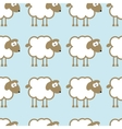 Seamless pattern with sheep on blue background vector image