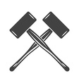 Two crossed big engineers hammers mallets spall vector image vector image