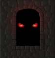 darkness stone wall and red eyes vector image