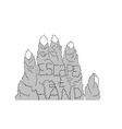 escape at hand mountain vector image