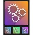 Flat icon set mechanic gears vector image