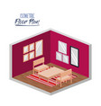 isometric floor plan of living room with carpet vector image