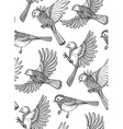 Seamless pattern with hand drawn ornate birds vector image