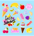 set of cute ice cream and fruits in the form of a vector image
