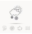 Snow with sun icon Snowflakes and cloud sign vector image