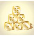 Six golden dice vector image