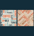 coffee pattern with words in retro style vector image