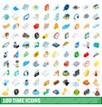 100 time icons set isometric 3d style vector image