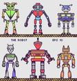 Retro Robot Collection vector image vector image