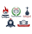 Volleyball sport game icons and symbols vector image vector image