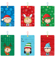 Christmas tags with funny kids vector image vector image