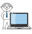 businessman supported by laptop vector image vector image