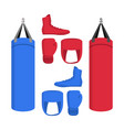 boxing equipment set of icons isolated sport vector image