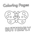 cartoon butterfly coloring book vector image