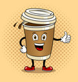 coffee cup and thumb up pop art vector image