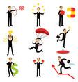 successful businessman at work metaphor set of vector image