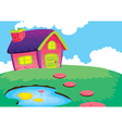 beautiful house and pond vector image vector image