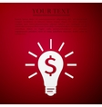Light bulb with dollar symbol business icon on red vector image