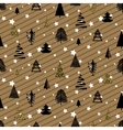Gold and black christmas winter woods seamless vector image
